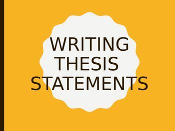 Lesson plan for writing a thesis statement